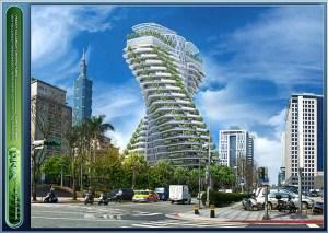 Das Bild von Vincent Callebaut zeigt einen in Bau befindlichen Farmscraper in Taipei, Tao Zhu Yin Yuan Tower, ein luxuriöses Wohnhochhaus, projektiert von Vincent Callebaut (Fertigstellung geplant: 2017).