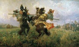 Картина «Поединок Пересвета с Челубеем на Куликовом поле»