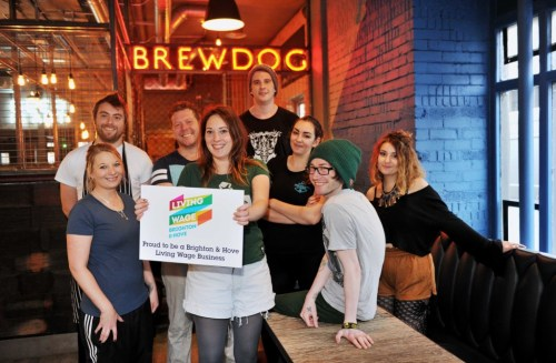 Staff at Brewdog in Grand Parade Brighton celebrate being a Brighton and Hove Living Wage Business Please Credit - Simon Dack / Vervate www.vervate.com 01273 275162 0797 3677 017
