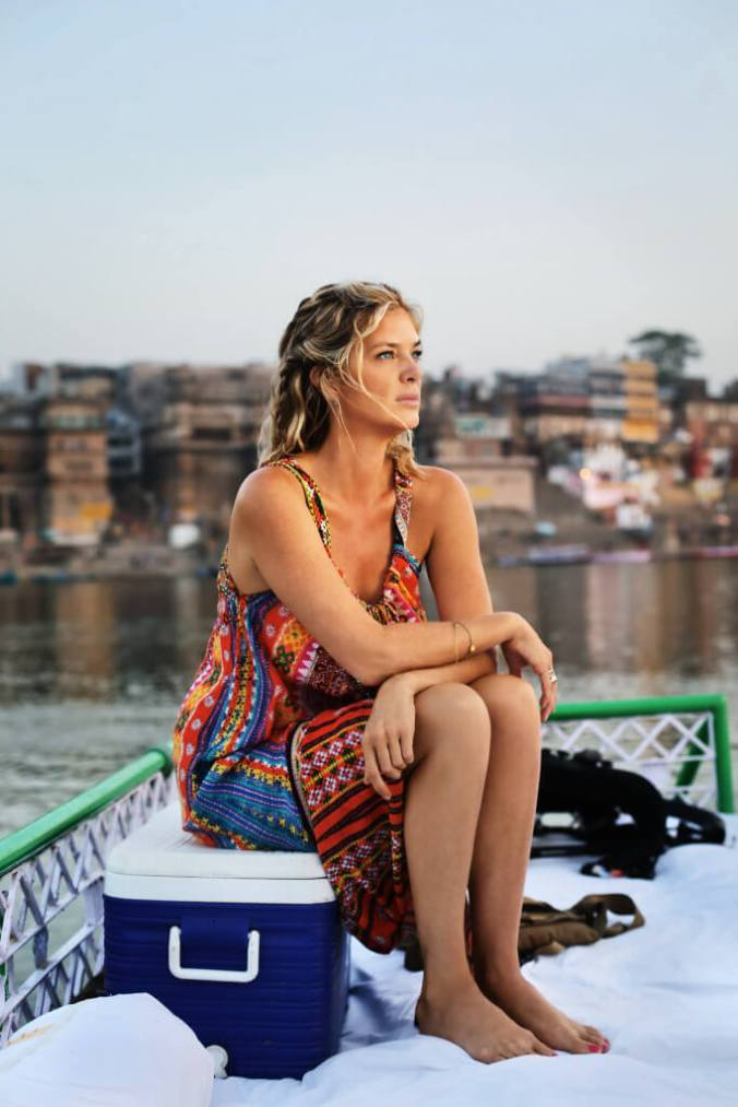 Rachel on a boat on the river Ganges. Varanasi, India. (ep7)