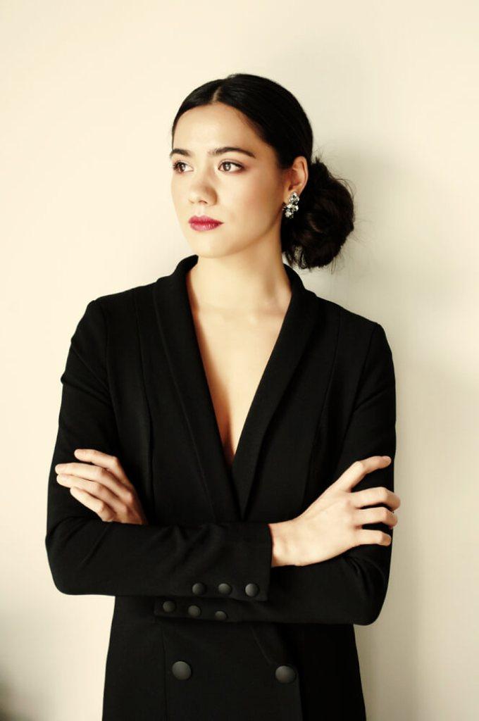 Kookai Karlie Blazer Dress $220, Modes Crystal Clip Earrings $198.