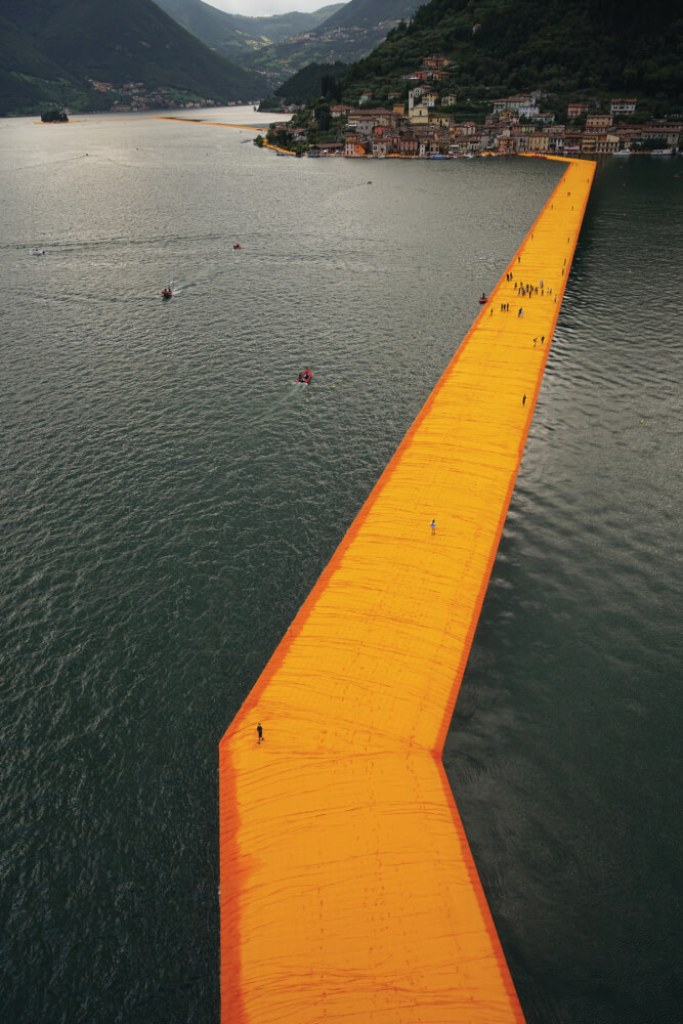 The Floating Piers, Lake Iseo, Italy, 2014-16, Photo: Wolfgang Volz.