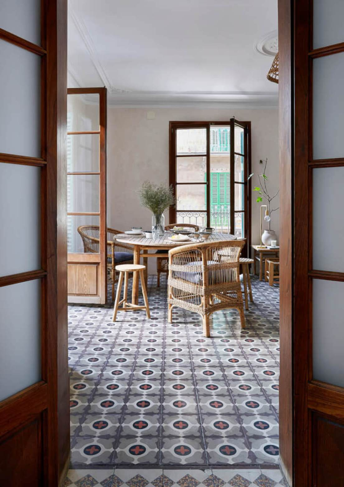 The traditional mallorcan floor tiles add colour and pattern to the space while the interior walls have been plastered