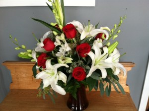 Lillies, orchids, and roses from our Valentine's collection.