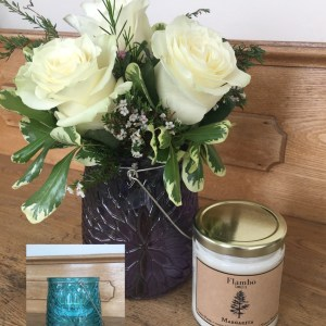 Rose Trio & Candle Gift Set