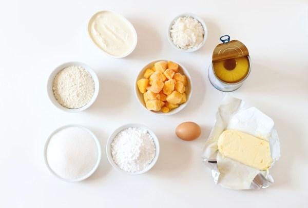 ingrédients tropical cupcakes - ananas, mangue, coco - VeryCake