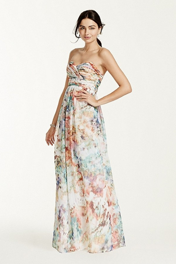 David's Bridal - Strapless Printed Chiffon Dress Style