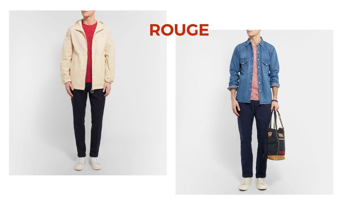 look homme touche rouge