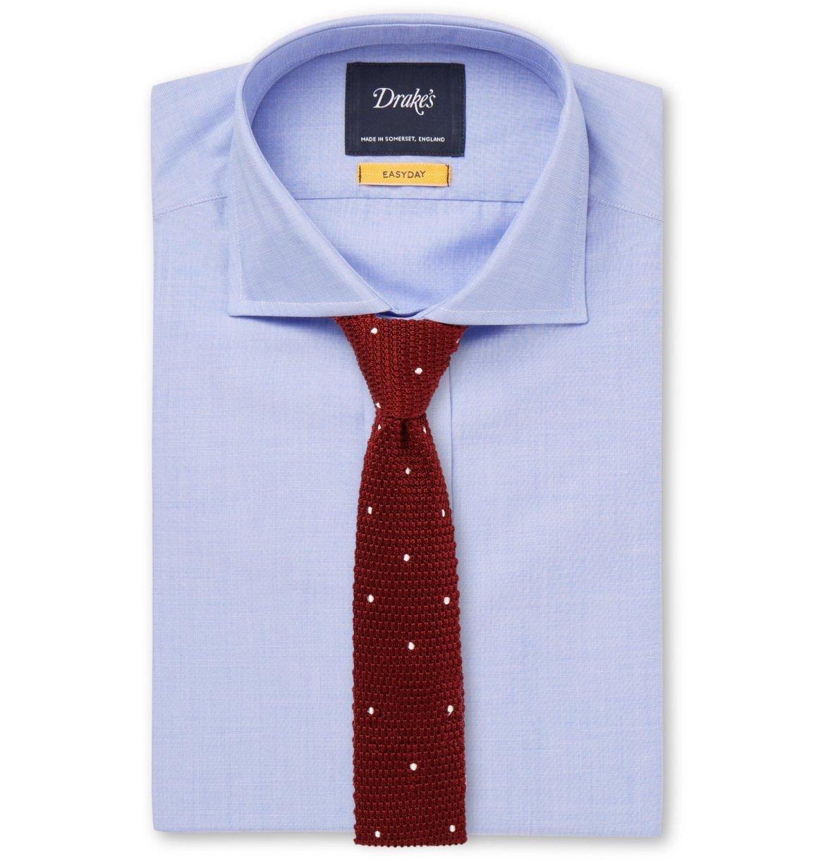 chemise bleu unie cravate motifs