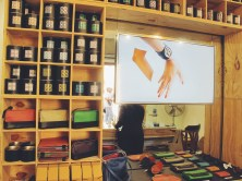 Cute leather shop called Officine904, where I bought a red bag (next to yellow).