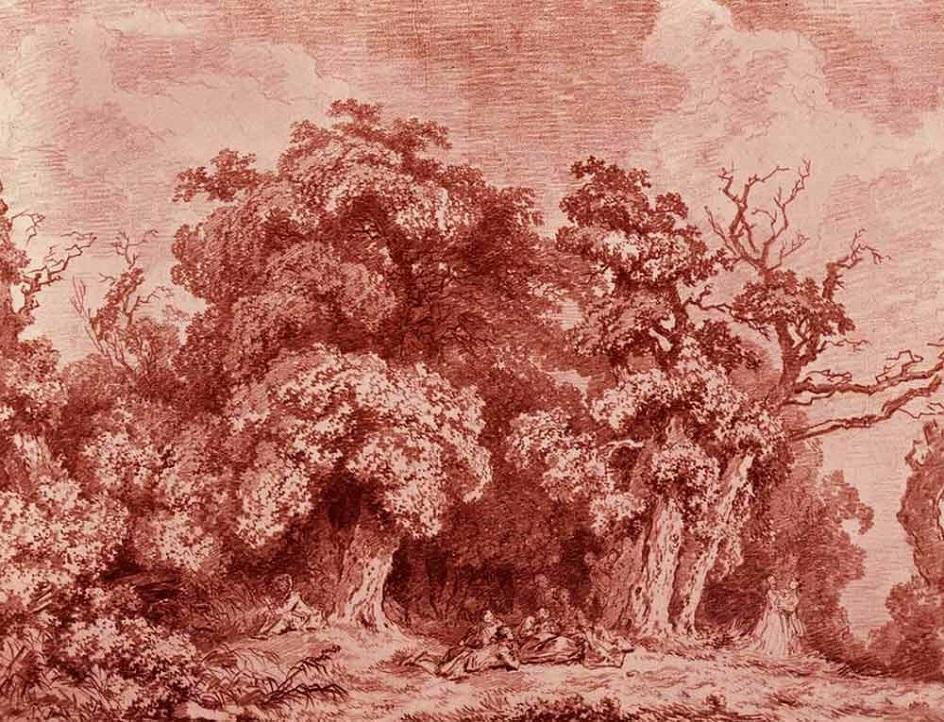 Сангина. Жан-Оноре Фрагонар. Рисунок «Парковый пейзаж», XVIII век