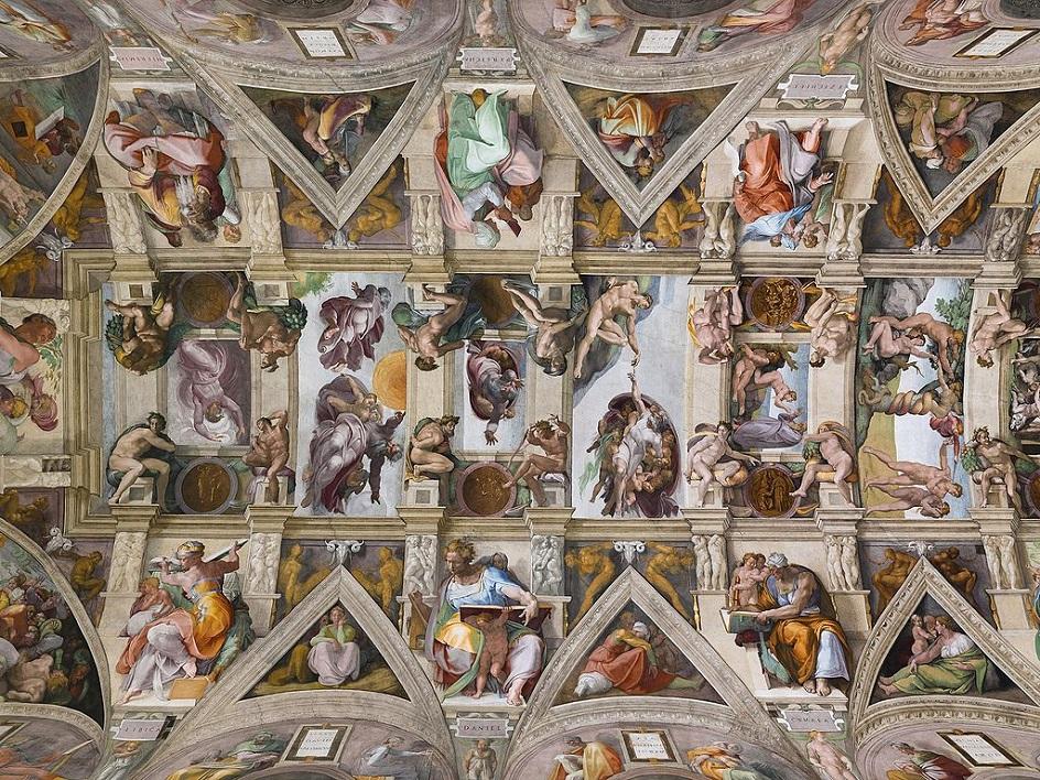 """Τοιχογραφία. Michelangelo. """"Η οροφή ζωγραφικής της Sicstinskaya Capella"""", 1512"""