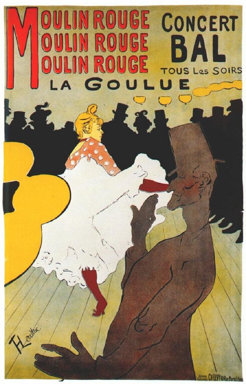 """پوستر هنری تولوز لوترک. """"مولین روژ، لا گل"""""""