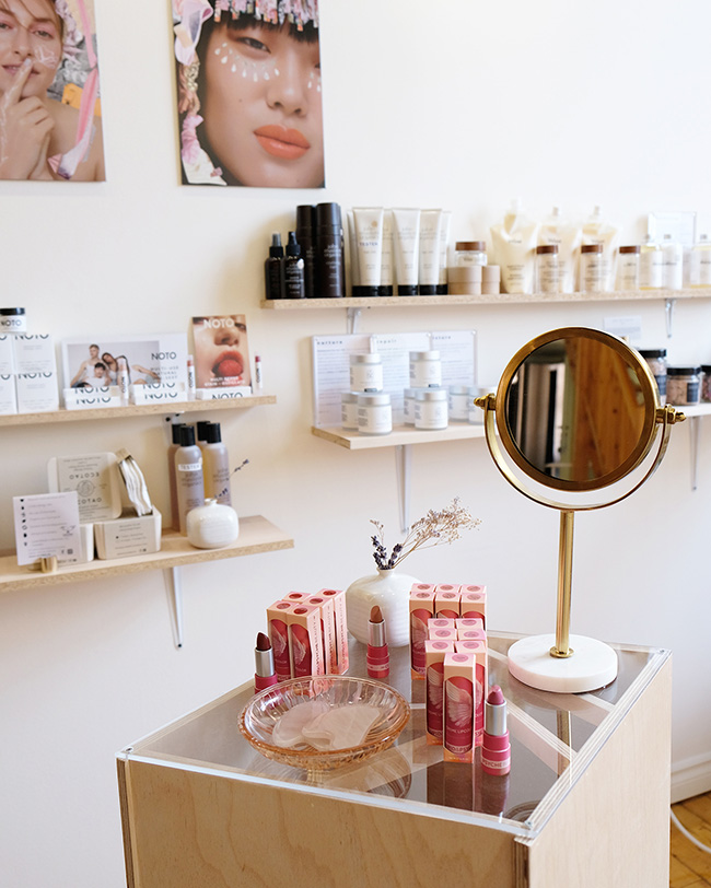 Clean beauty products at Beauties Lab boutique.