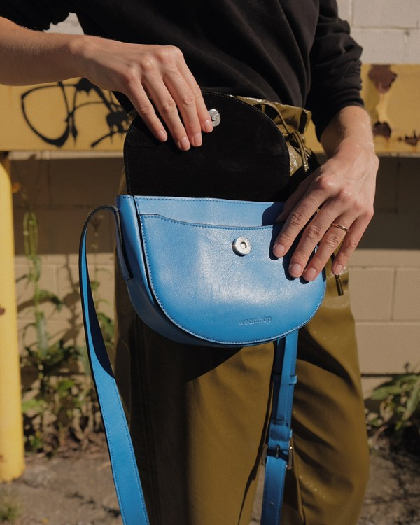 Close up of Corsia bag by ethical leather handbag company Wearshop