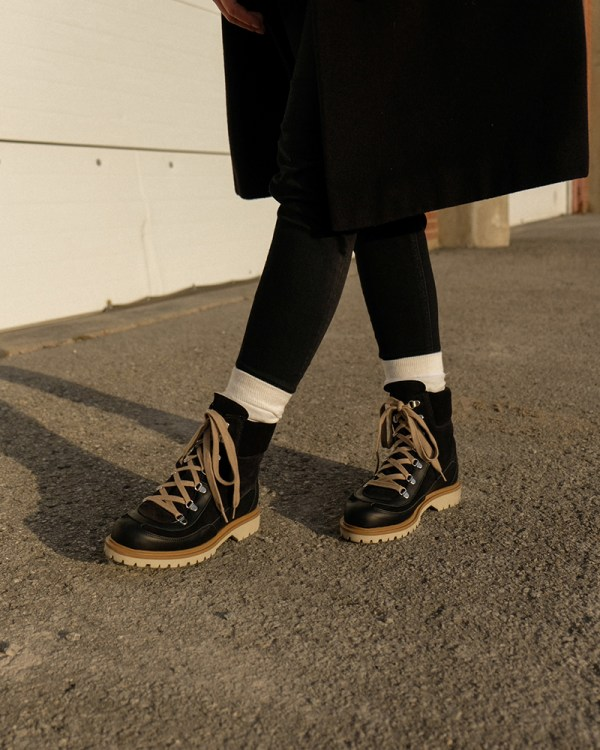 Anfibio boots made in Montreal worn by Joëlle Paquette.