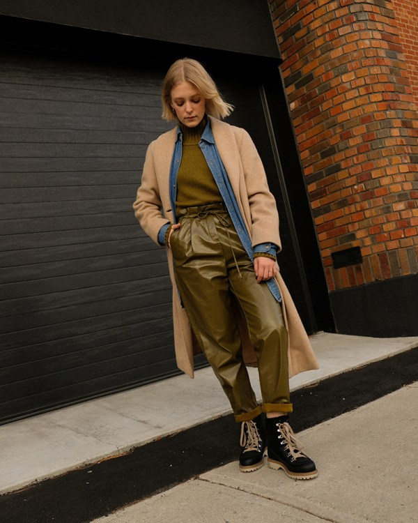 Joëlle Paquette is wearing multiple layers of clothing to stay warm and stylish this winter.