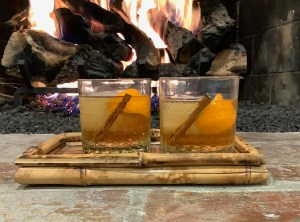 """Winter Spiced """"Old Fashioned"""" with cinnamon and clementine"""
