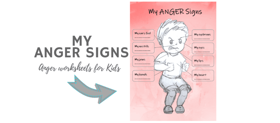 MY ANGER SIGNS worksheets for kids banner