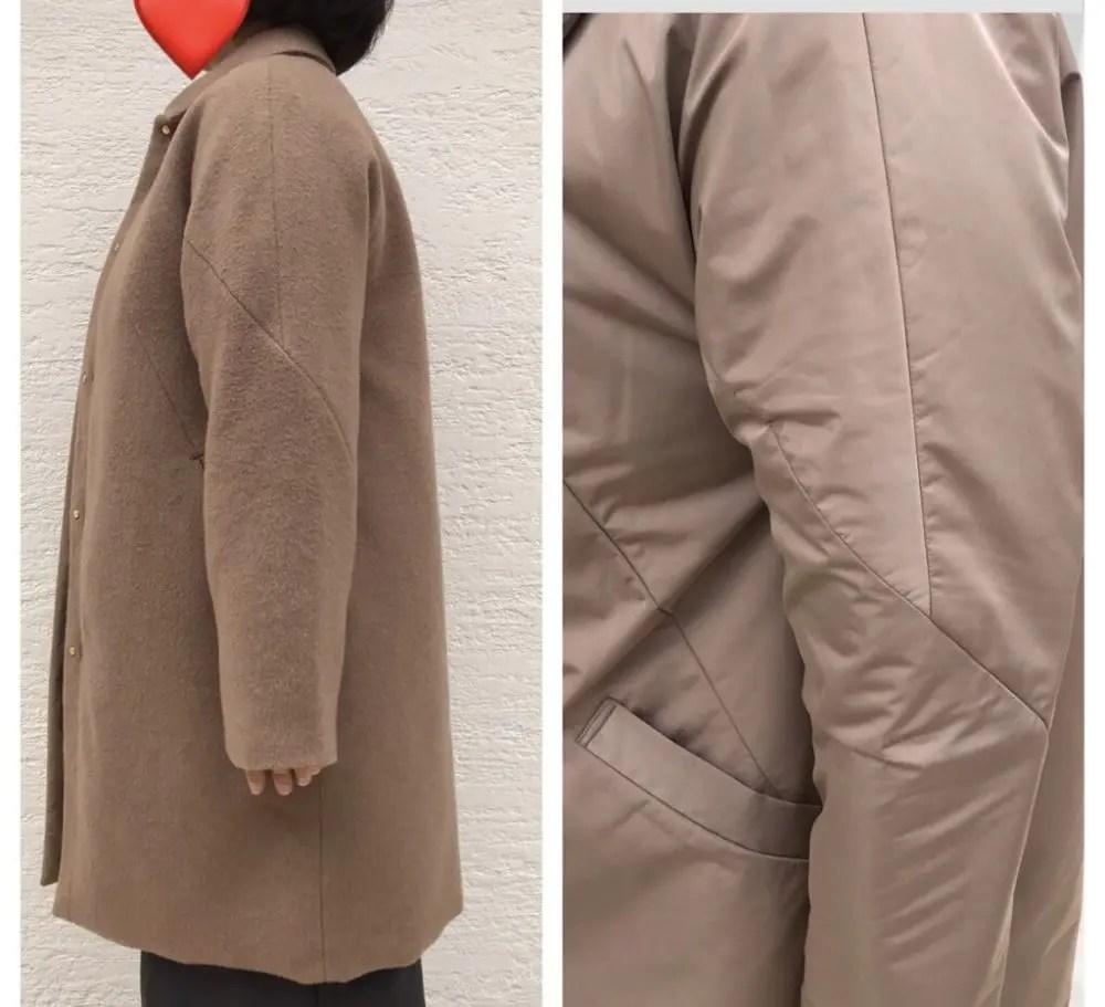 【口コミ評判】ドゥクラッセ・マジカルサーモ リバーシブル・ウールコートの腕の切り替えライン
