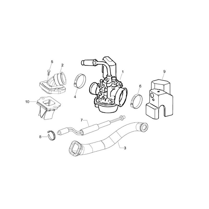 02: Inlaatspruitstuk Vespa scooter ET2/LX/LXV/S 2 takt