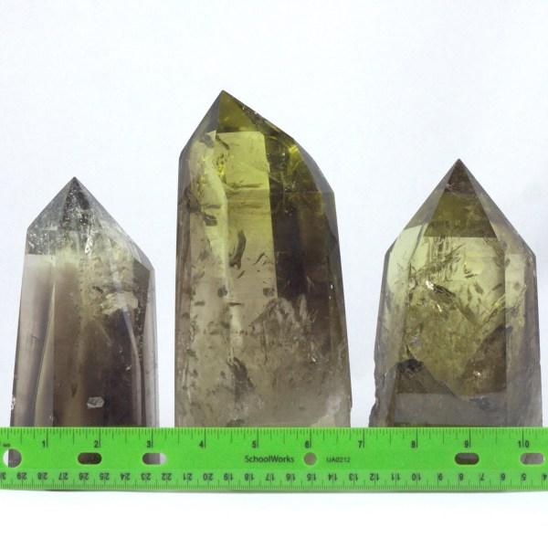 cs2 Citrine, Smoky, Lemon-Lime, Large Polished Standing points Vesica Institute for Holistic Studies
