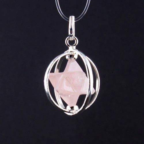 merkabah rose quartz a Quartz, Rose, Merkaba, Caged Pendant Vesica Institute for Holistic Studies