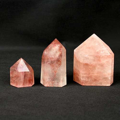 Iron Rose Quartz points 1 Quartz, Iron Rose, Polished Standing Points Vesica Institute for Holistic Studies
