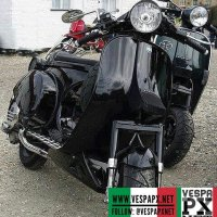 Tuned modified Vespa PX 200 racing