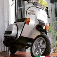 Silver Vespa Excel T5 custom with vespa LX wheels  @sansscoot