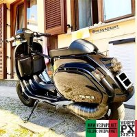 Black custom modified Vespa PK 50S . hashtag and mention @vespapxnet for feature repost @l_accopp_e_zitt