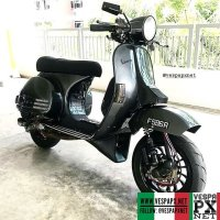 Dark grey Vespa PX custom modified with Vespa sprint wheel . hashtag and mention @vespapxnet for feature repost Check website www.vespapx.net for more