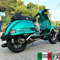 Metallic green Vespa PX custom modified with Vespa sprint wheel . hashtag and mention @vespapxnet for feature repost Check website www.vespapx.net for more @daus.ranlley