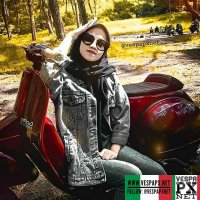 Vespa girl with dark red Vespa PX custom . hashtag and mention @vespapxnet for feature repost Check website www.vespapx.net for more @dihan_dh