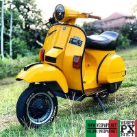 Yellow Vespa PX custom modified . hashtag and mention @vespapxnet for feature repost Check website www.vespapx.net for more @vespakempling_jepara