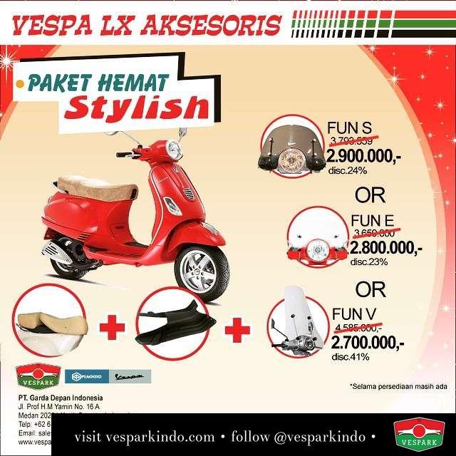 Get more stylish with your VESPA LX this 2015! Special limited promo! Pilih paket Fun V, Fun E atau Fun S dengan Diskon s/d 41% selama persediaan masih Ada! Tag dan share dgn Teman anda