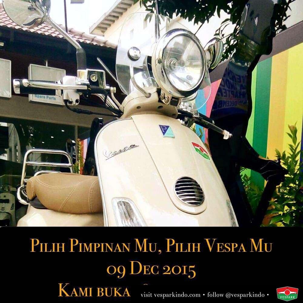 Ayo, pilih Pimpinan Mu Hari ini dan pilih Vespa Mu juga, 09 Dec 2015 Hari Pilkada Kami buka 16.00-21.00 WIB. Silakan datang test ride Vespa terbaru.