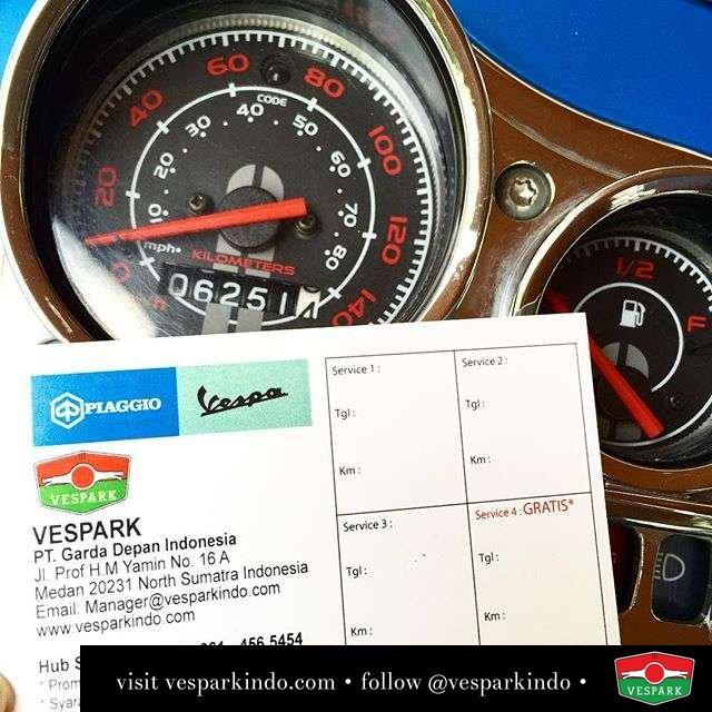 Vespa Service, lakukan service rutin di bengkel resmi Vespark Medan dan dapatkan service Gratis ke-4 Hub service di 061-4565454 utk info lengkap.