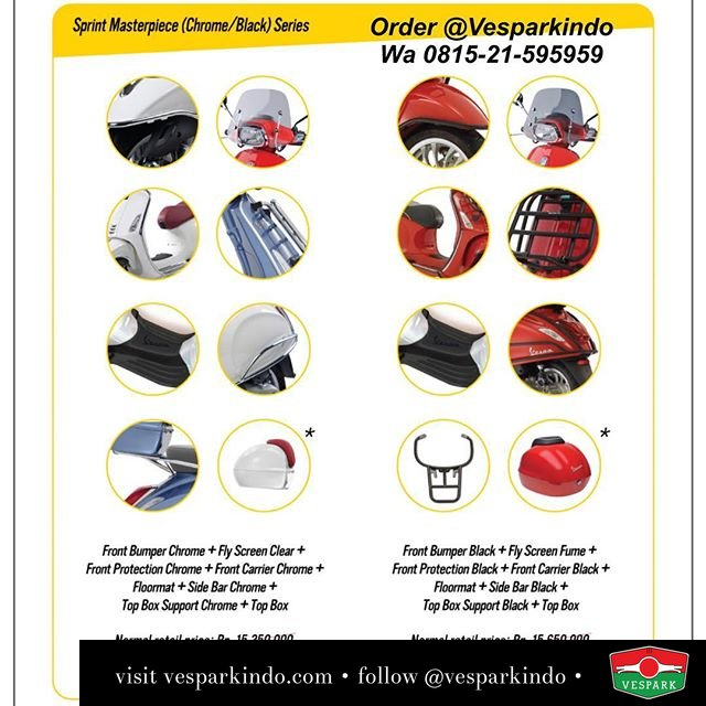 Vespa Sprint Masterpiece package. The ultimate genuine accessories for your Vespa Sprint. Order now at Vespark wa 0815-21-595959