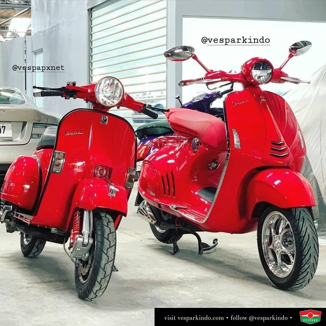 RED Vespa PX and the new Vespa 946 RED @vespapxnet