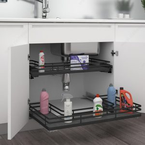 matte black U-shaped pullout baskets under sink