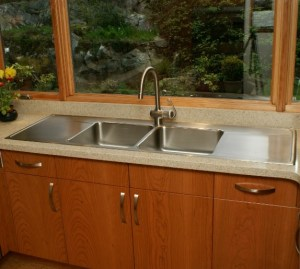 double bowl sink with two drainboards