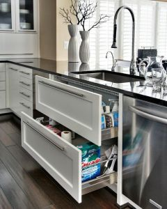 deep drawers under sink made from stainless steel