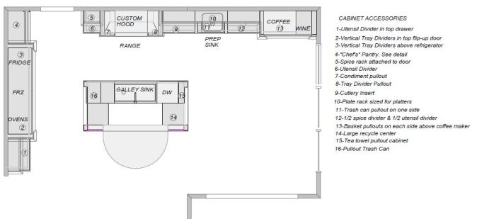 Kitchen floorplan with cabinet accessories