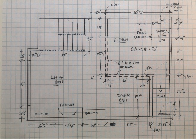 Drawing of kitchen site measure