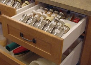 upper drawer with angled spice insert.