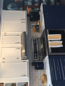 After image of blue and white kitchen update