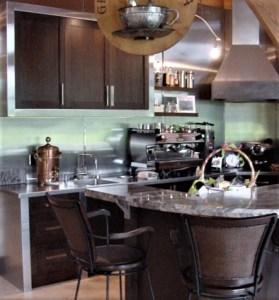 custom coffee bar in homes great room