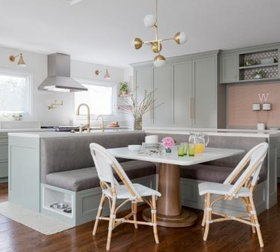 L-shaped banquette off kitchen island