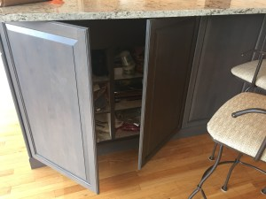 hidden storage under dining bar